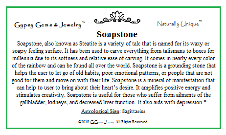 Soapstone info Card on GGandJ.com