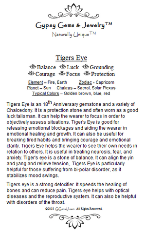 Gypsy Gems & Jewelry™ Tigers Eye Facts