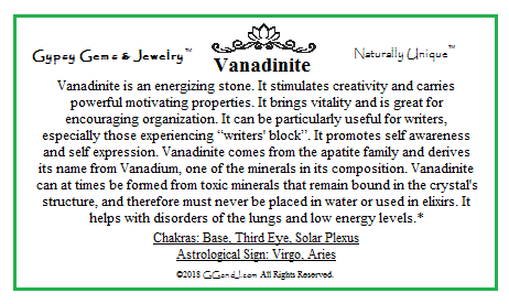 Gypsy Gems & Jewelry Vanadinite Facts