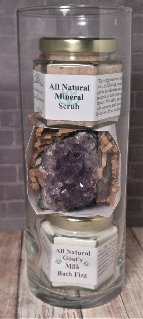 All Natural Bath Gift Set with Amethyst and free vase!