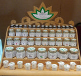 Custom handcrafted wood lotus display for wholesale Body Botanicals by Gypsy Gems & Jewelry