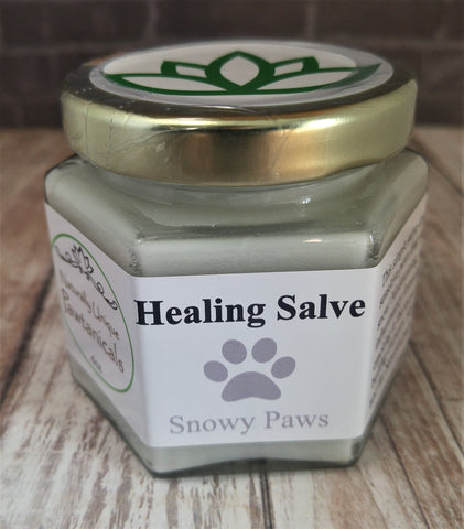 Snowy Paws 4oz Gypsy Gems & Jewelry™ Naturally Unique™ Pet Pawtanicals™ Salve, frostbite prevention, Pet Care, Organic Pet Products, Handmade Pet supplies, pet health, dog care, cat care, rabbit care, GGandJ.com