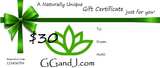 Gypsy Gems & Jewelry™ Naturally Unique™ $30 Gift Certificate GGandJ.com