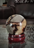 Home Decor Gemstone Sphere Mineral Naturally Unique Septarian Tower in Living Room on GGandJ.com