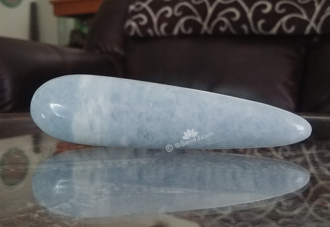 Home Decor Blue Gemstone Mineral Naturally Unique Celestite Wand in Living Room on GGandJ.com