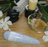 Celestite Wand Spa Towel massage Oil gemstone wand Relax Therapeutic Luxury Flower Healing Candle septarian