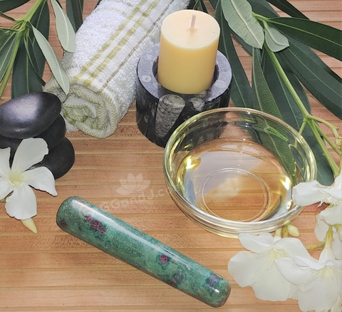Spa Towel massage Oil gemstone wand Relax Therapeutic Luxury Flower Healing Candle Ruby Zoisite