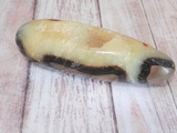 Natural Septarian from Madagascar Carved Wand Gemstone Yellow Calcite Brown Aragonite GGandJ.com