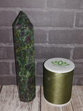 Ruby Zoisite Obelisk from India with thread spool size reference
