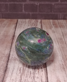 Natural Red and green gemstone  Carved into Sphere GGandJ.com Ruby Fuchsite