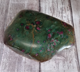 Natural Red and green gemstone Carved slab GGandJ.com Ruby Fuchsite