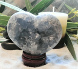 Spa Luxury Relax Reiki Energy Healing Meditation Natural Gemstone Mineral Gypsy Gems & Jewelry GGandJ.com Celestite Heart Naturally Unique