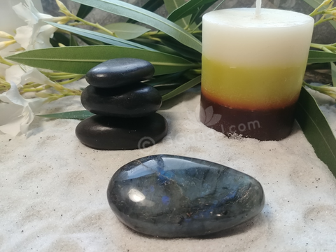 Spa Towel massage Oil gemstone wand Relax Therapeutic Luxury Flower Healing Candle Labradorite Gallet Wand