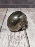 Rear view of hand carved gemstone skull