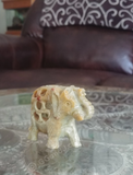 Home Decor Gemstone Mineral Naturally Unique Soapstone Elephant in Living Room on GGandJ.com