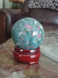 Home Decor Gemstone Mineral Naturally Unique Ruby Zoisite sphere in Living Room on GGandJ.com