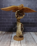 Indonesian Wood art bird on tower owl in flight gypsy gems & jewelry naturally unique