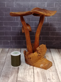 Wooden Mushroom Statue with thread spool size reference