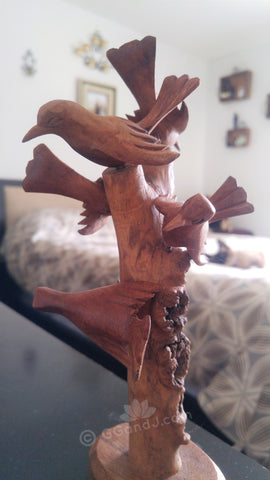 Home Decor Indonesian Wood Art Naturally Unique Hand carved Bird tower tree  in Bed Room on GGandJ.com siamese cat