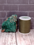 Malachite on Baryte with thread spool size reference