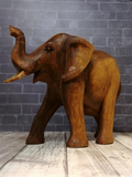 Gift for elephant lovers hand carved wood statue