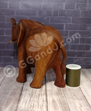 Wood elephant with thread spool size reference