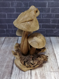 Side View of Wooden frog on mushroom figure on GGandJ.com Naturally Unique Gypsy Gems & Jewelry
