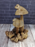Wood Mushroom Statue with frog from Indonesia Gypsy Gems & Jewelry