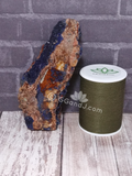 Azurite Gemstone with thread spool size reference