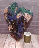 Malachite and Azurite from Morocco with thread spool size reference