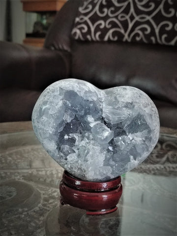 Home Decor Blue Gemstone Mineral Naturally Unique Celestite Heart in Living Room on GGandJ.com