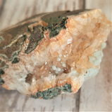 Natural green Epidote and Calcite on Baryte Gemstone Crystal from Morocco on GGandJ.com