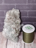 Natural green Prehnite with Epidote Gemstone Crystal from Morocco on GGandJ.com with thread size reference