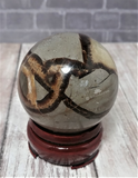 Natural Septarian from Madagascar Carved Sphere Gemstone Yellow Calcite Brown Aragonite GGandJ.com