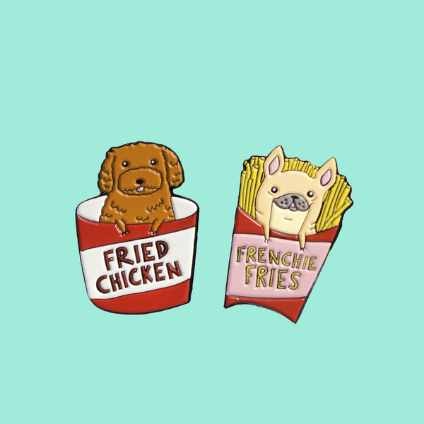 'Never Alone' Doggy Duo Enamel Pins