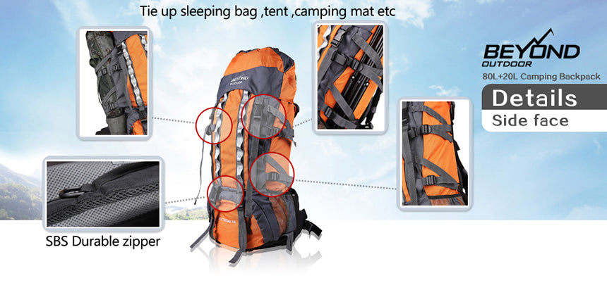 Backpack waterproof 100 litre for camping and hiking