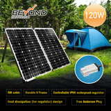 2017 New Model - 12v 120w Solar Folding Panel Kit Caravan Boat Camping Power Mono Charging