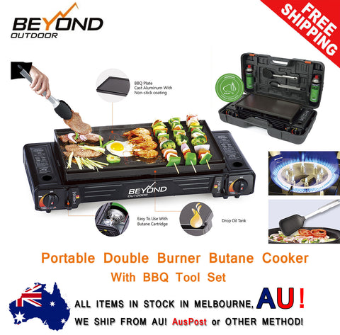 Portable Double (Twin) Gas Burner Stove Butane Cooker + BBQ Tools -  AGA APPROVED