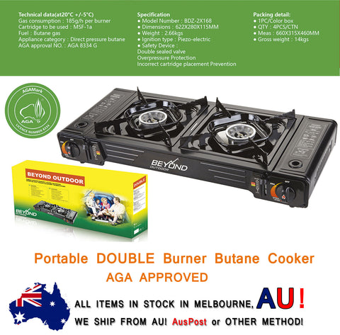 Portable Gas Cooker Stove Double (TWIN) Butane Burner Camping Kitchen AGA APPROVED