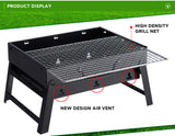 Black Portable Charcoal BBQ Grill For Camping Outdoor Picnic - Small