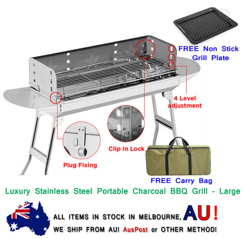 New Luxury Stainless Steel Portable Camping Picnic Outdoor Charcoal BBQ Grill - Large