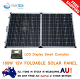 12V 160W FOLDING SOLAR PANEL KIT MONO CARAVAN BOAT CAMPING POWER BATTERY