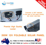 200W Folding Solar Panel Kit Caravan Camping Power 12V Mono Charging Battery