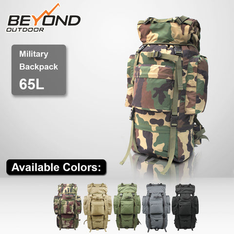 Rogisi 65L Military Backpack for Camping Hiking Traveling - Waterproof with Rain Cover