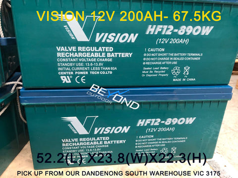 Excorp Used Vision 200AH AGM Deep Cycle Batttery - For Dual battery, Caravan, Offgrid Solar