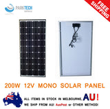 12V 200W Solar Panel Kit Home Generator Caravan Camping Power Mono Charging