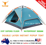 Double Layer Pop Up Camping Camp Tent 3 ~ 4 Person Outdoor Waterproof Shelter