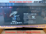 Excorp Used Ritar 240AH AGM Deep Cycle Batttery - For Dual battery, Caravan, Off-Grid Solar