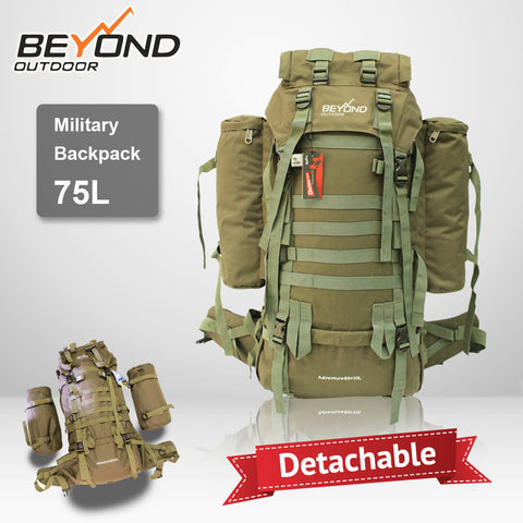 75L Military Material Camping fishing Hiking Hunting Travel Backpack outdoor water resistant