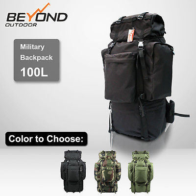 100L Military Camping Hiking Mountain Travel Water proof Backpack with Free Rain Cover